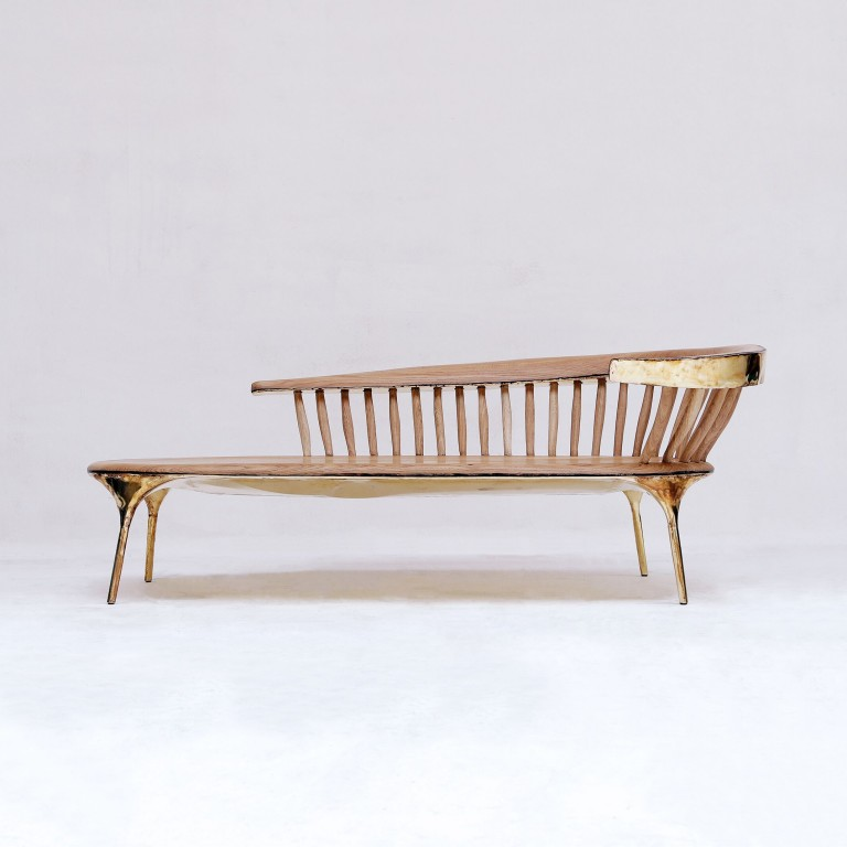 Valentin Loellmann  - Brass - Lounge Chair with Spindled Back